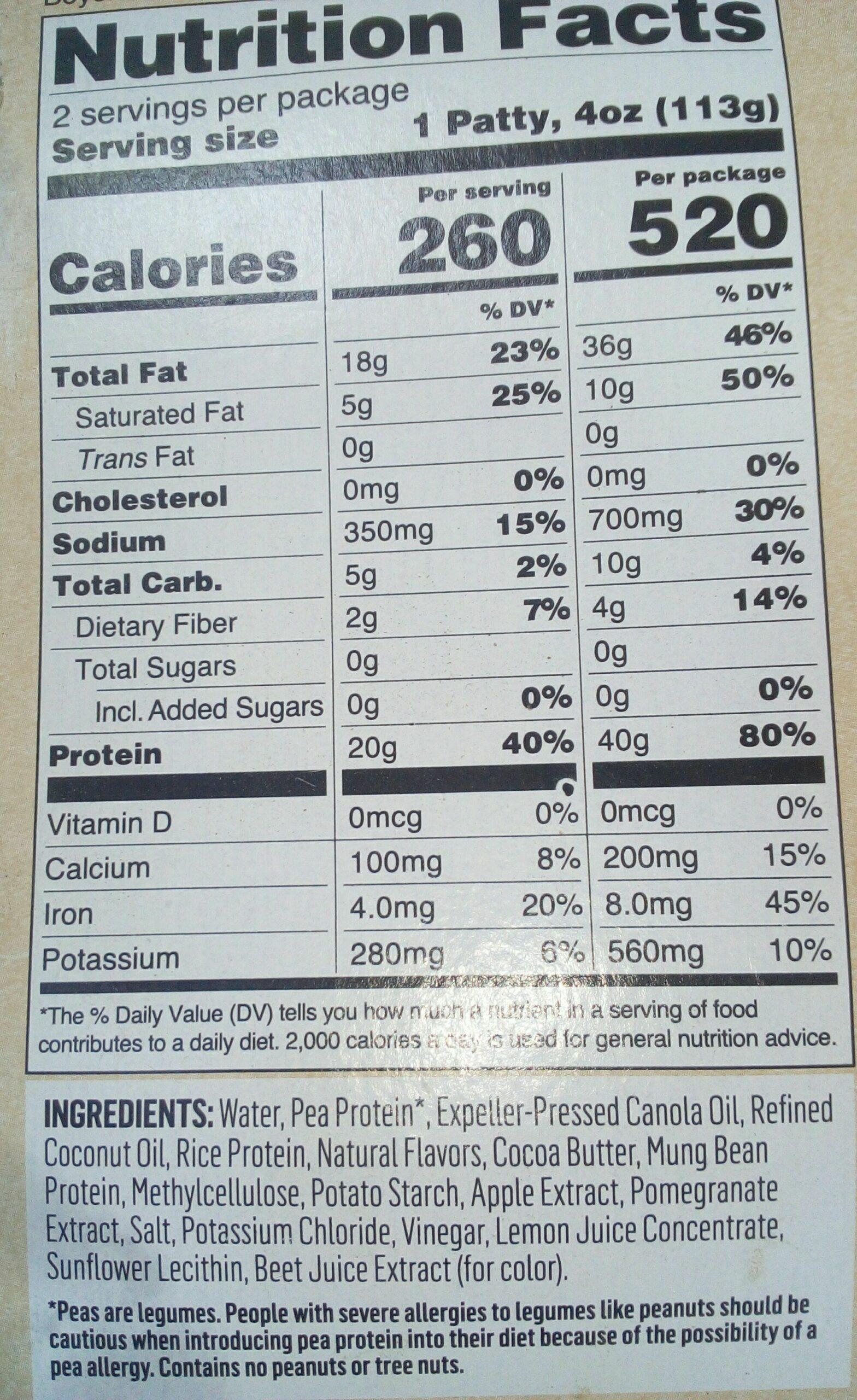 Beyond Meat Burger Nutritional Value